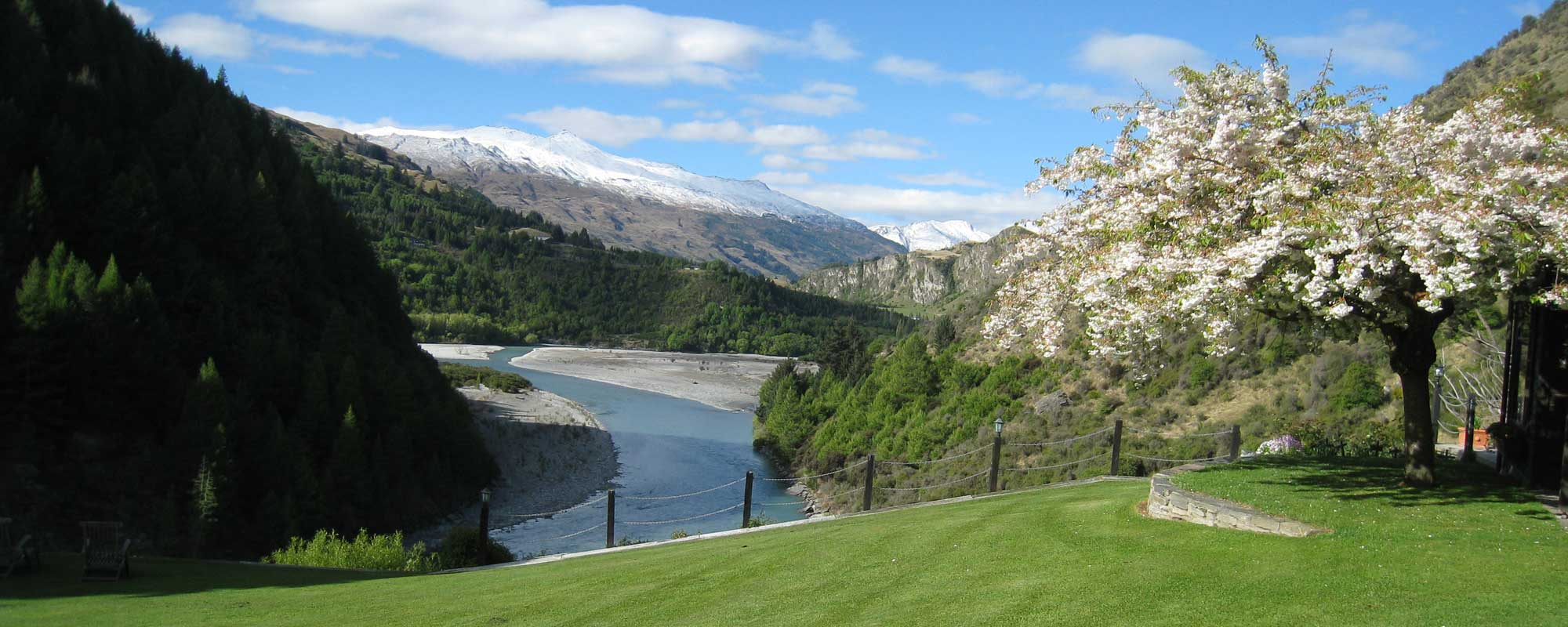 View to the mountains and river from our boutique accommodation near Queenstown